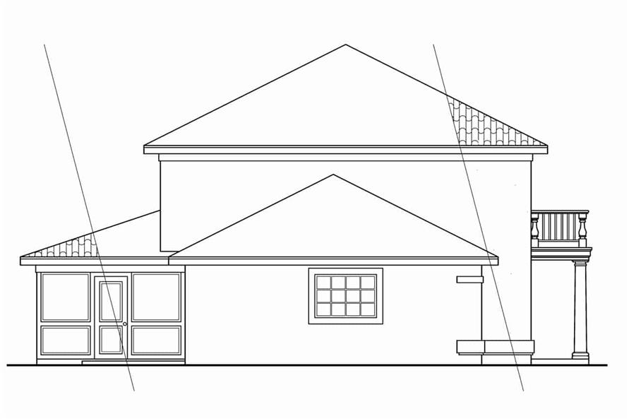 Home Plan Left Elevation of this 3-Bedroom,1992 Sq Ft Plan -108-1040