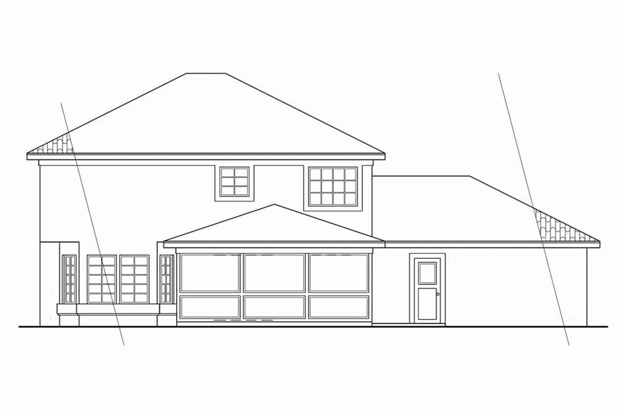 Home Plan Rear Elevation of this 3-Bedroom,1992 Sq Ft Plan -108-1040