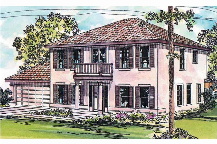 3-Bedroom, 1992 Sq Ft Florida Style House - Plan #108-1040 - Front Exterior
