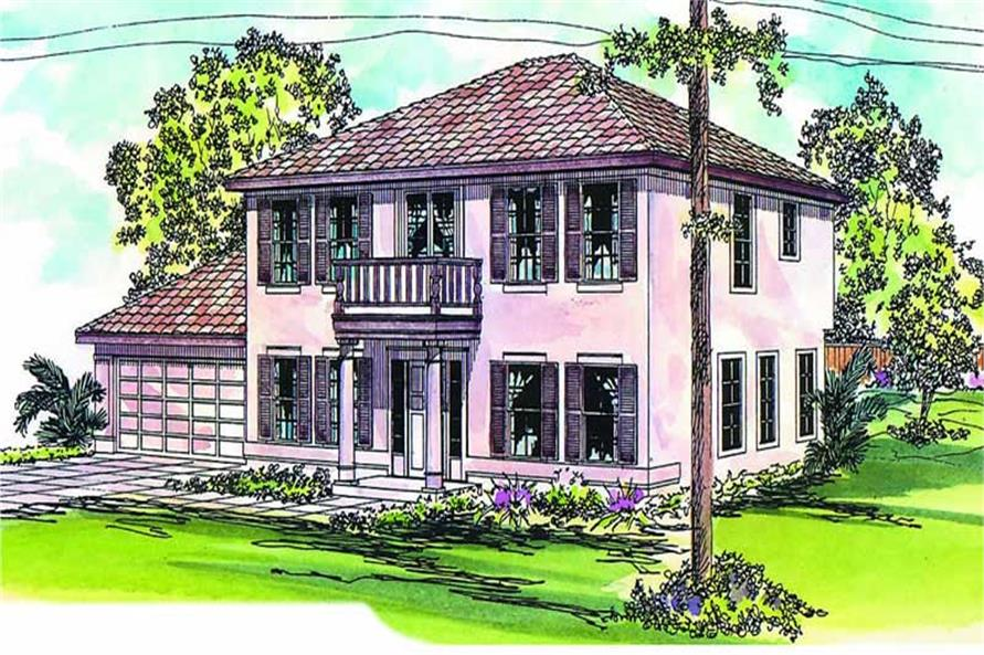 3-Bedroom, 1992 Sq Ft Florida Style House Plan - 108-1040 - Front Exterior