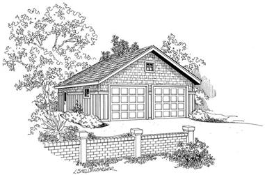 1-Bedroom, 676 Sq Ft Garage House Plan - 108-1042 - Front Exterior