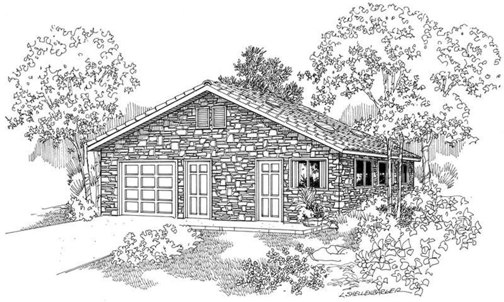 Rendering of Country style Garage plan (ThePlanCollection: House Plan #108-1045)
