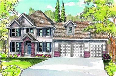 4-Bedroom, 2803 Sq Ft European House Plan - 108-1049 - Front Exterior
