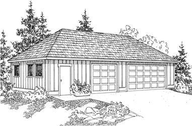 0-Bedroom, 1536 Sq Ft Garage House Plan - 108-1051 - Front Exterior