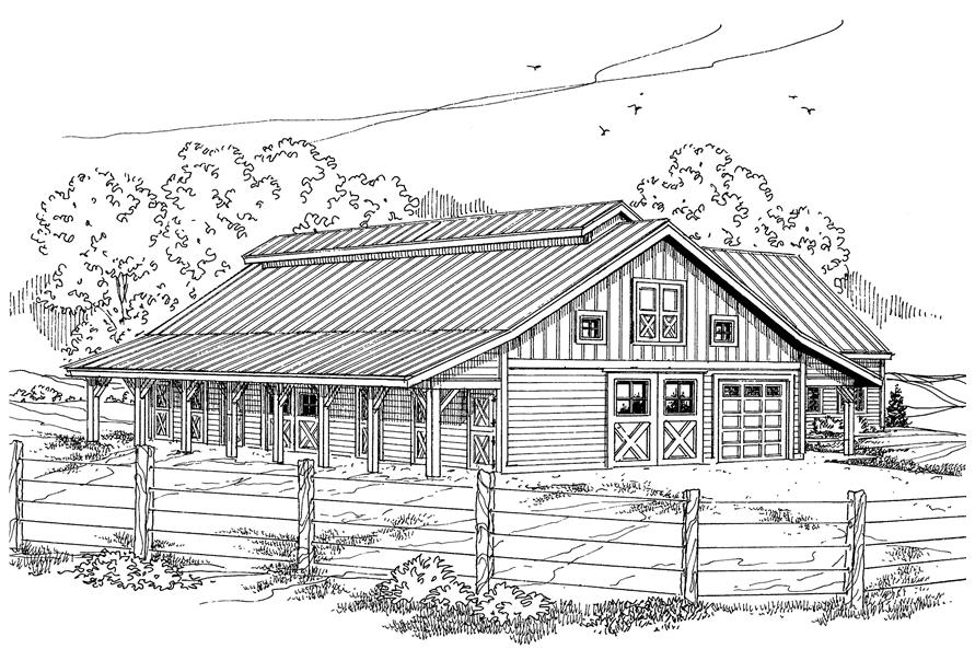 This is a black and white drawing of these Barn Plans