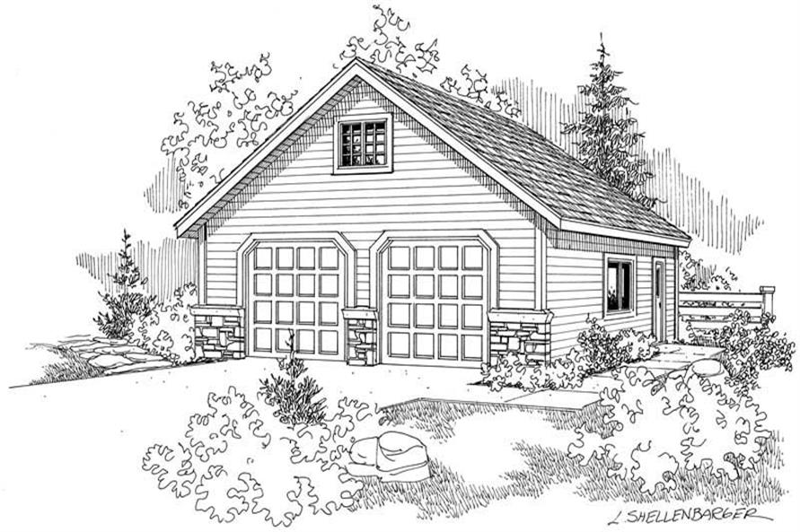 1-Bedroom, 1178 Sq Ft Garage House Plan - 108-1057 - Front Exterior
