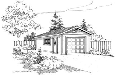 1-Bedroom, 392 Sq Ft Garage House Plan - 108-1059 - Front Exterior