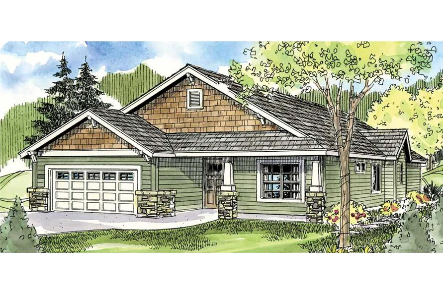 This image shows the front elevation of these Bungalow Houseplans.