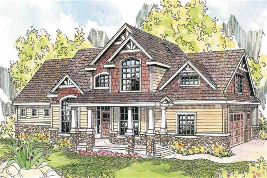 This is a colored rendering for these arts and crafts home plans.