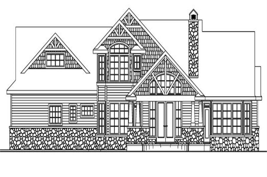 Home Plan Rear Elevation of this 3-Bedroom,2674 Sq Ft Plan -108-1062