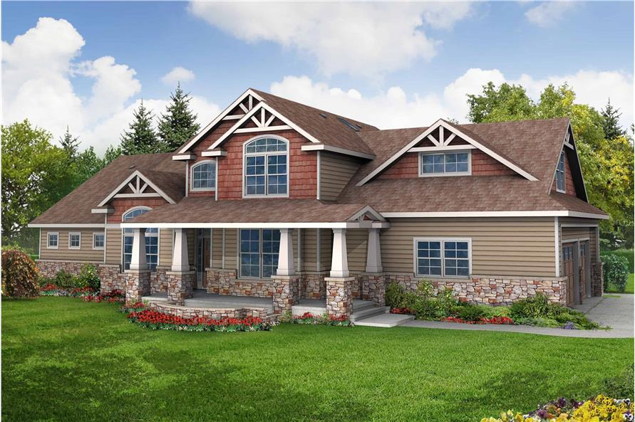 3-Bedroom, 2674 Sq Ft Craftsman Home Plan - 108-1062 - Main Exterior