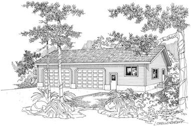 1-Bedroom, 1800 Sq Ft Garage w/Apartments House Plan - 108-1064 - Front Exterior