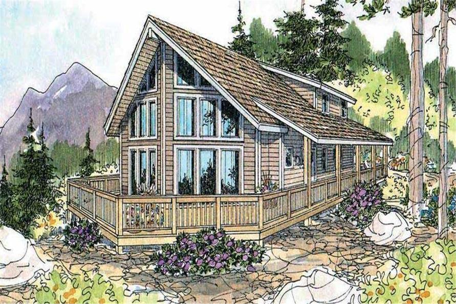 This is an artist's rendering for these Log Cabin House Plans.
