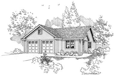 1-Bedroom, 1010 Sq Ft Garage w/Apartments House Plan - 108-1067 - Front Exterior