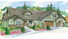 This is a colorful artist's rendering of these Craftsman House Plans.