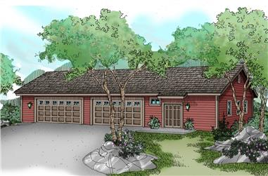 0-Bedroom, 3200 Sq Ft Garage House Plan - 108-1074 - Front Exterior