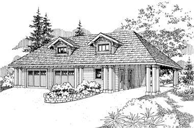 0-Bedroom, 1225 Sq Ft Garage Home Plan - 108-1076 - Main Exterior