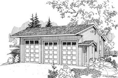 0-Bedroom, 1440 Sq Ft Garage House Plan - 108-1086 - Front Exterior