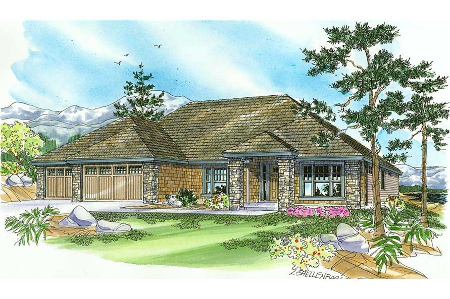 This is an artist's rendering of these Craftsman Houseplans.
