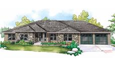 This is the front elevation for these Prairie House Plans
