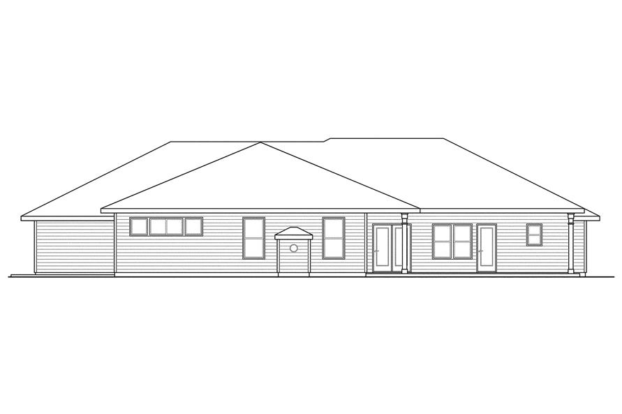 Home Plan Rear Elevation of this 4-Bedroom,3000 Sq Ft Plan -108-1094