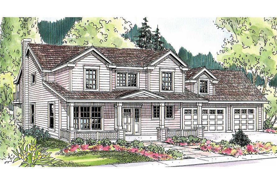 This image shows the Traditional Style of this house plans.