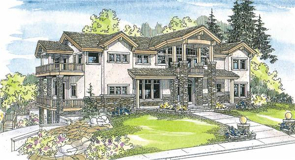 This is a colored rendering of these Luxury Home Plans.