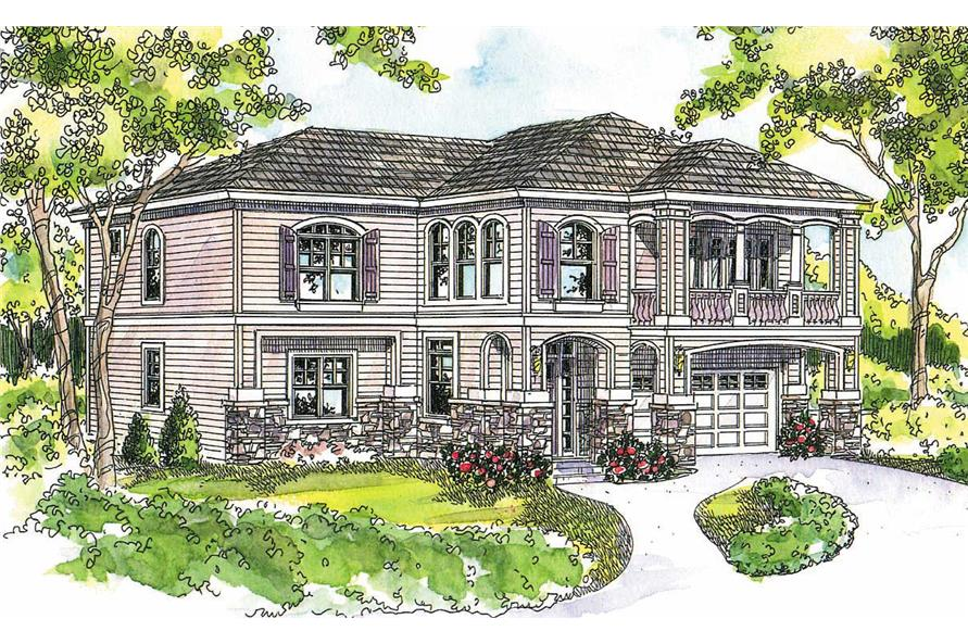This image shows the European Style of the house plan.