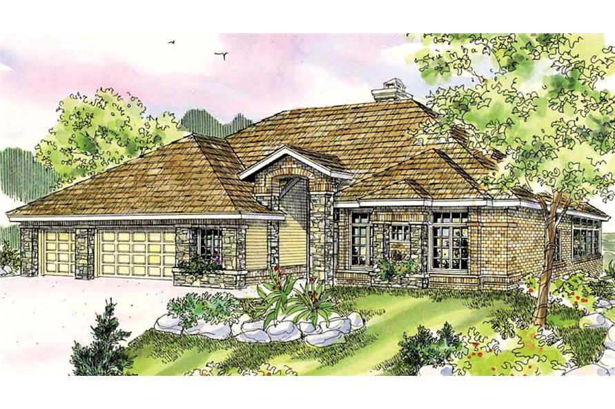 This is a colored rendering of these Craftsman Homeplans.