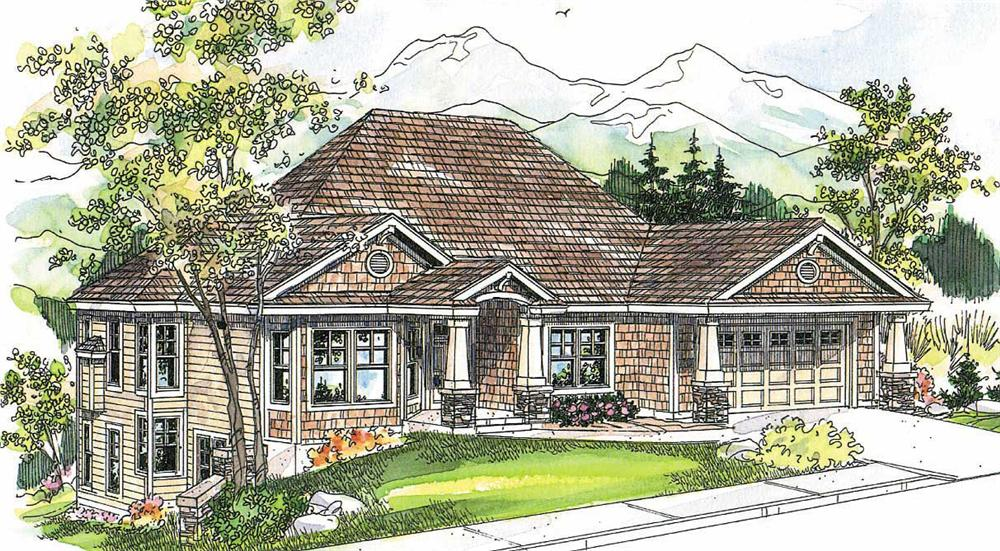 This image shows the Craftsman Style of the house plan.