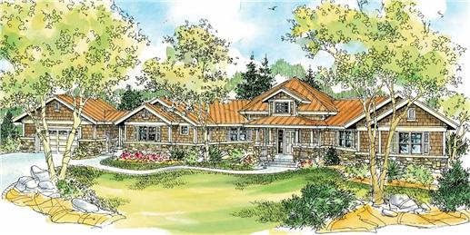This is an artist's rendering of these Hexagon Craftsman House Plans.