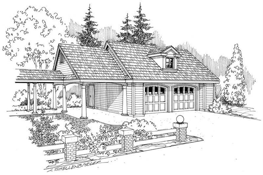 0-Bedroom, 1184 Sq Ft Garage Home Plan - 108-1125 - Main Exterior