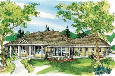 3-Bedroom, 3617 Sq Ft European House Plan - 108-1127 - Front Exterior