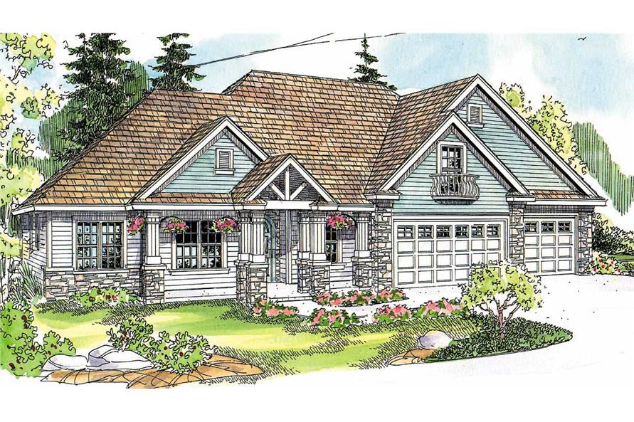 This image shows the Transitional Style of the house plans.