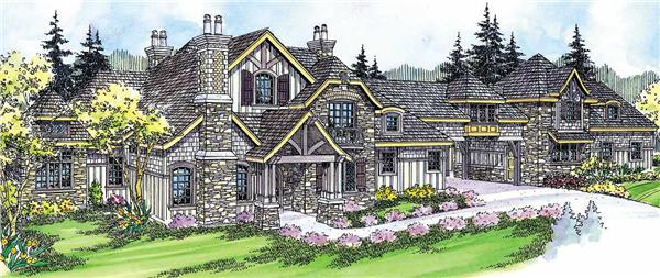 This image shows the Country French Style for this set of house plans.