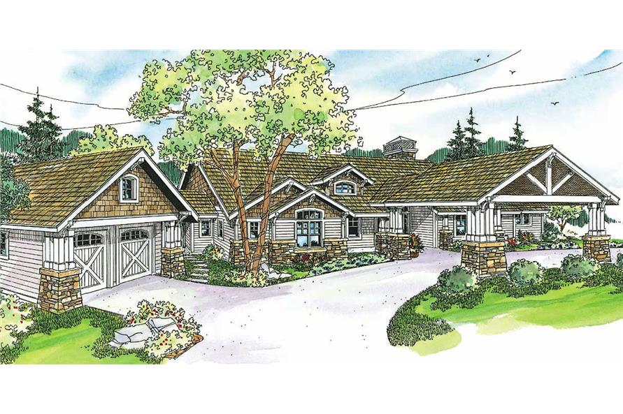 2-Bedroom, 3199 Sq Ft Country House Plan - 108-1135 - Front Exterior