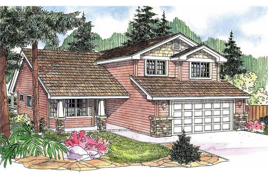 This image shows the Craftsman style for this set of house plans.