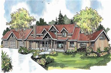 3-Bedroom, 6309 Sq Ft Country House Plan - 108-1147 - Front Exterior