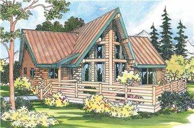 2-Bedroom, 1384 Sq Ft Log Cabin Home Plan - 108-1154 - Main Exterior