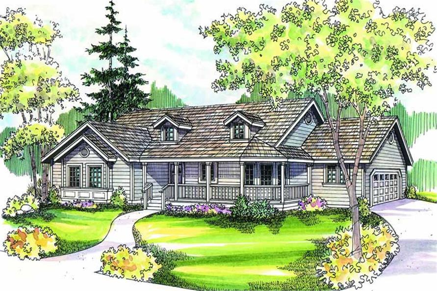 3-Bedroom, 1634 Sq Ft Country Home Plan - 108-1159 - Main Exterior
