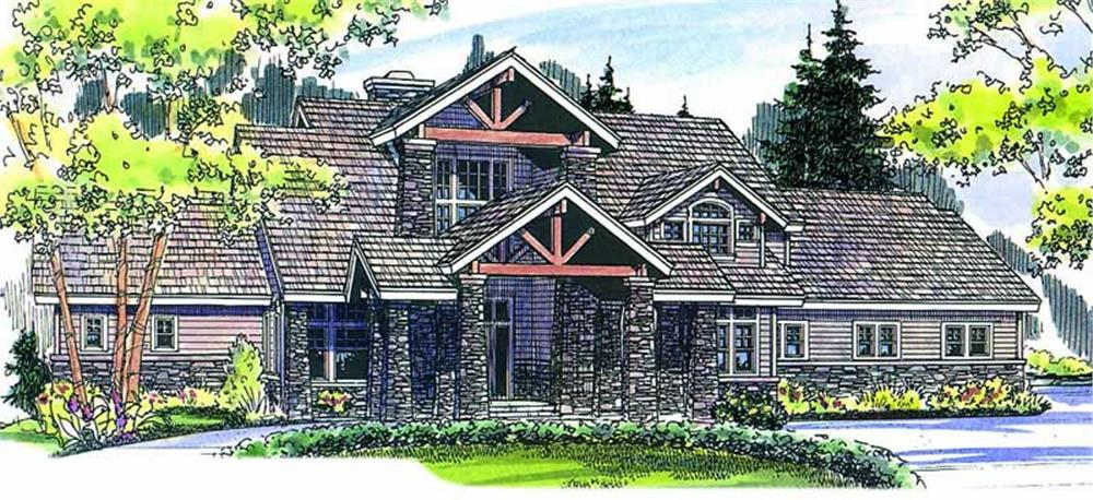 Color Rendering for Craftsman Home Plans.