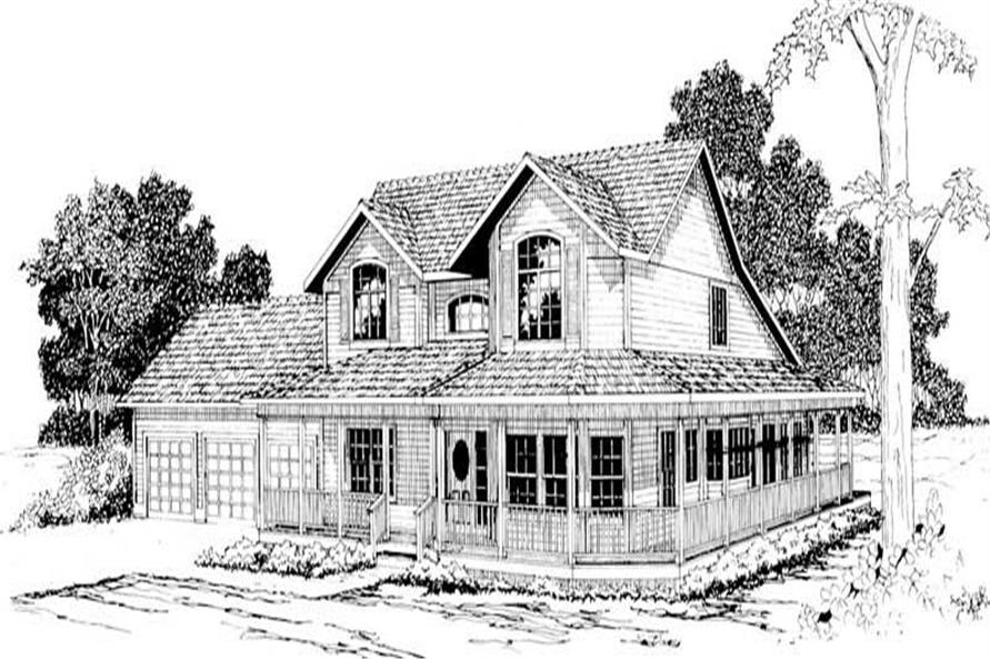 4-Bedroom, 3792 Sq Ft Country Home Plan - 108-1168 - Main Exterior
