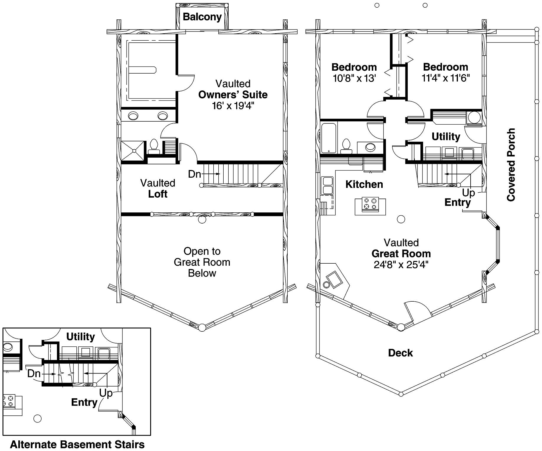 Log Cabin Home With 3 Bdrms 1835 Sq Ft Floor Plan 108 1169