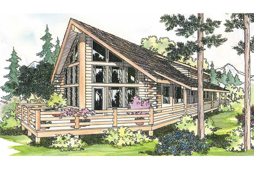 3-Bedroom, 1835 Sq Ft Log Cabin Home Plan - 108-1169 - Main Exterior