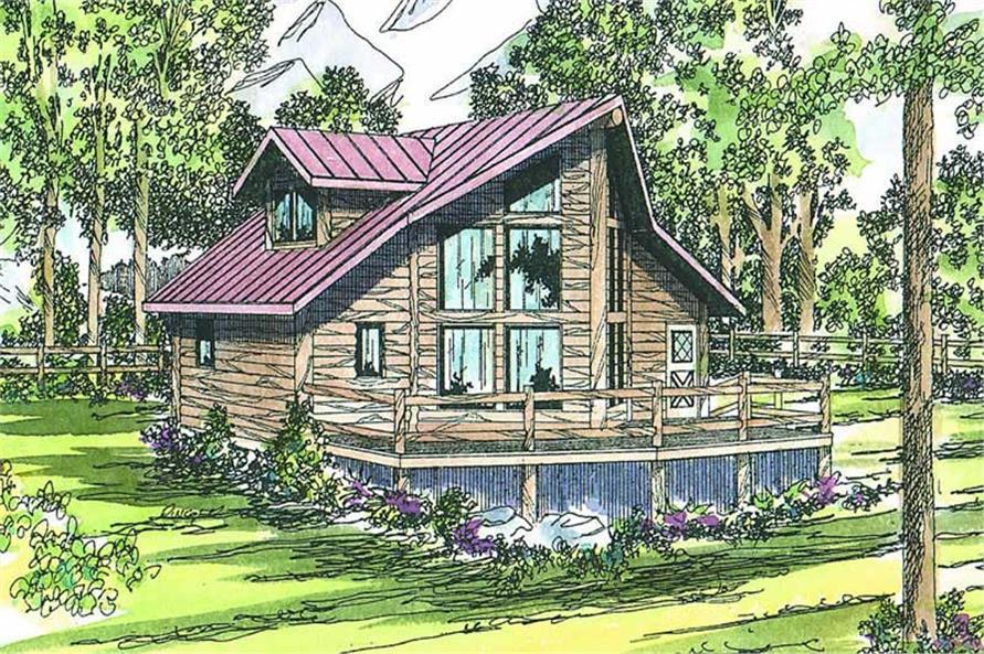 3-Bedroom, 1401 Sq Ft Log Cabin Home Plan - 108-1170 - Main Exterior