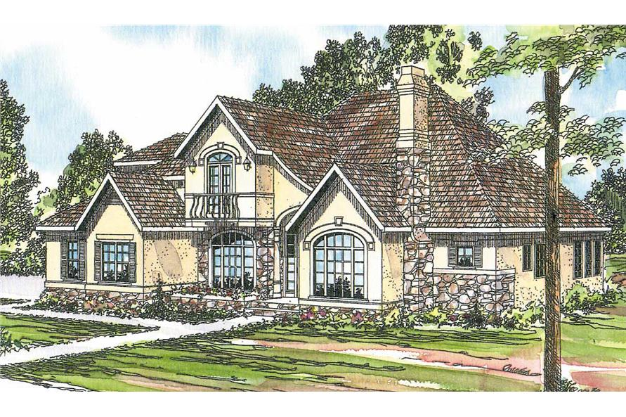 This image shows the European Style for this set of house plans.