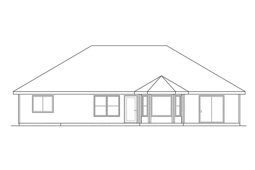 Home Plan Rear Elevation of this 4-Bedroom,1835 Sq Ft Plan -108-1181