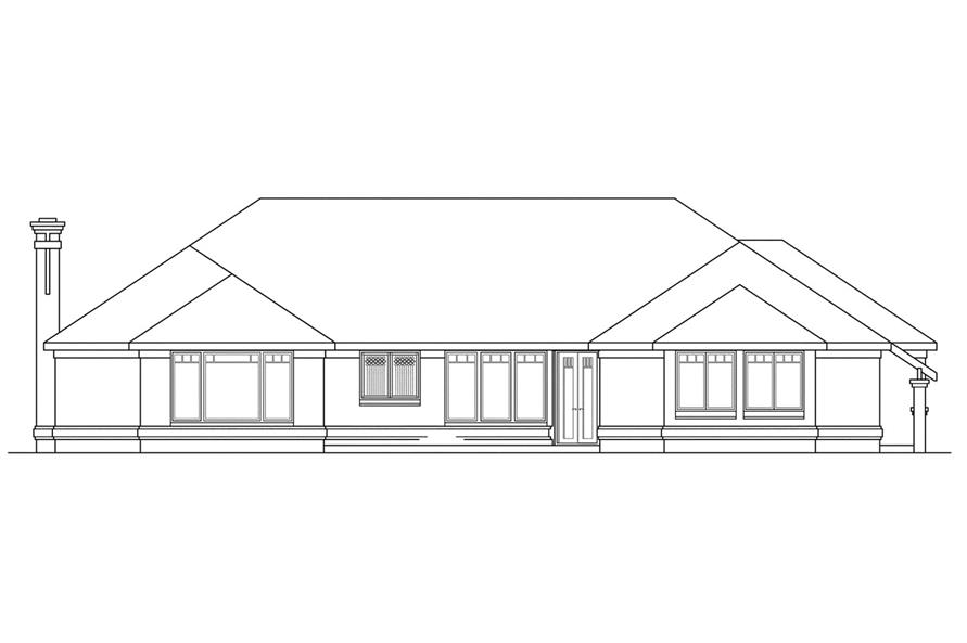 Home Plan Rear Elevation of this 3-Bedroom,2684 Sq Ft Plan -108-1185