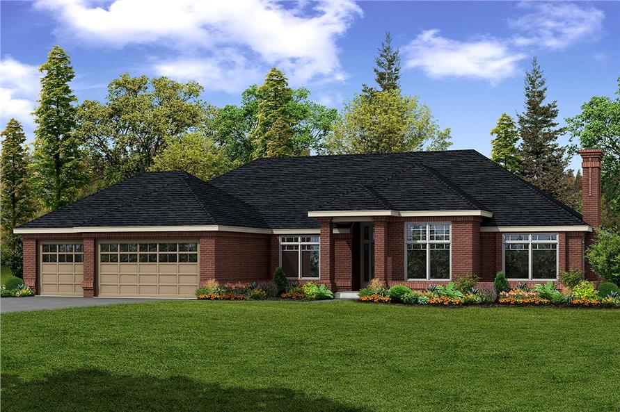 Color rendering of Contemporary home plan (ThePlanCollection: House Plan #108-1185)