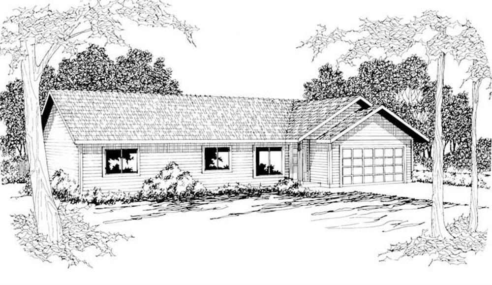 Front elevation of Ranch home (ThePlanCollection: House Plan #108-1189)